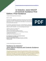 Juice Haccp. FDA