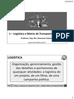 Aula 1 - Logística e Matriz de Transporte Brasileira