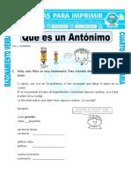 Ficha Que Es Un Antonimo Para Cuarto de Primaria