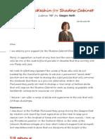 Ann McKechin Shadow Cabinet Letter