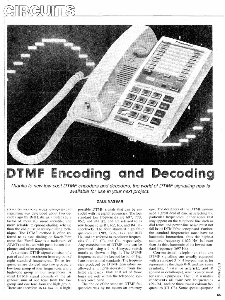 Dtmf Encoding And Decoding Electronic Circuits Detector Radio Based Fm Remote Control Circuit Projects