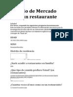 Estudio de Mercado Para Un Restaurante