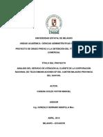 Análisis Del Servicio de Atención Al Cliente de La Corporación Nacional de Telecomunicaciones Ep Del Cantón Milagro Provincia Del Guayas (1)