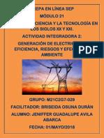 GENERACIÓN DE ELECTRICIDAD. EFICIENCIA, RIESGOS Y EFECTOS AL AMBIENTE
