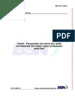SNI 7617-2013 Tekstil-Persyaratan Zat Warna Azo, Kadar Formaldehida Dan Kadar Logam Terekstraksi Pada Kain