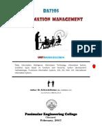 2017 Unit-I Information Management by Dr.K.Suresh Kumar, PEC