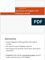 Semantic structure of English and Ukrainian words