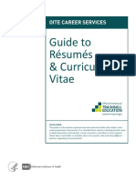 Guide to Resumes & Curricula Vitae