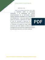 """""""LA FALTA DE EDUCACIÓN FINANCIERA Y LA MOROSIDAD DEL SECTOR MICROEMPRESARIAL DE LA INSTITUCION MIBANCO AGENCIA PAMPAS INALAMBRICAS DE LA PROVINCIA DE ILO PERIODO 2017"""","""