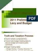 2011 Preliminary Budget & Levy Presentation