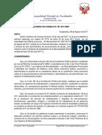 Acuerdo de Consejo Nº 08- 2017-Mdt