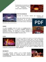Teatro, Efectos Escénicos, Sonido, Luces, Movimiento, Espacio, Tiempo, Autor, Autora, Dramaturgo, Dramaturga, Actor, Actriz, Público.