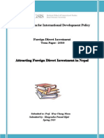 Attracting Foreign Direct Investment in Nepal (Term Paper by Mr. Khagendra Prasad Rijal- GSIS, SNU)