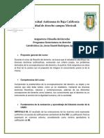 Criterios de Evaluacion Filosofia Del Derecho
