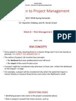 Project Management Week 8 Risk Management