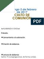 Diapositivas del Domingo 5 de Febrero de 2017