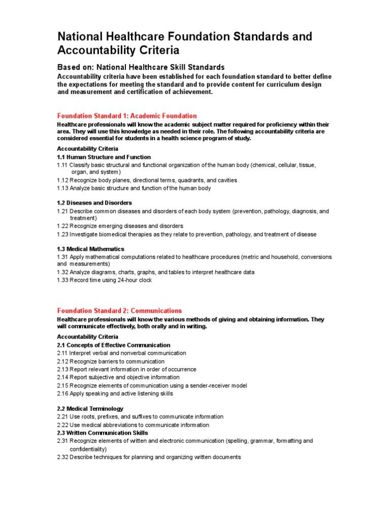 001 National Healthcare Foundation Standards Health Care Public