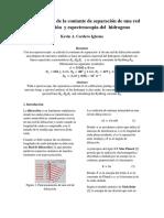 Determinación de La Contante de Separación de Una Red de Difracción y Espectroscopia Del Hidrogeno