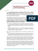 RESOLUCIÓN DEL NUEVO PERÚ FRENTE A ELECCIONES 2018