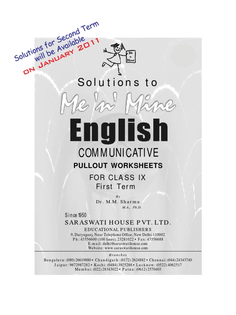 Workbooks illness management and recovery worksheets : Me n Mine English Ix Answer Book | Literacy | Internet