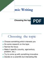 1. Choosing the Topic