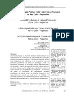 La Psicología Política en San Luis-RBPP