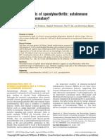 Pathogenesis of Spondyloarthritis - Autoimmune or Autoinflammatory
