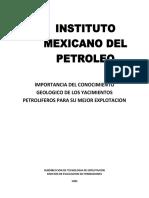 Importancia Del Conocimiento Geologico de Los Yacimientos Petroliferos Para Su Mejor Explotacion