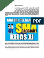 Materi Pelajaran Geografi SMA Kelas XI Semester