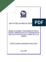 Manual de Normas y Procedimientos Parael Control Administrativo en La Preparación de Mezclas Citostáticas en La Cámara de Flujo Laminar