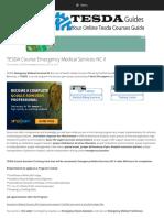 TESDA Course Emergency Medical Services NC II - TESDA Guides