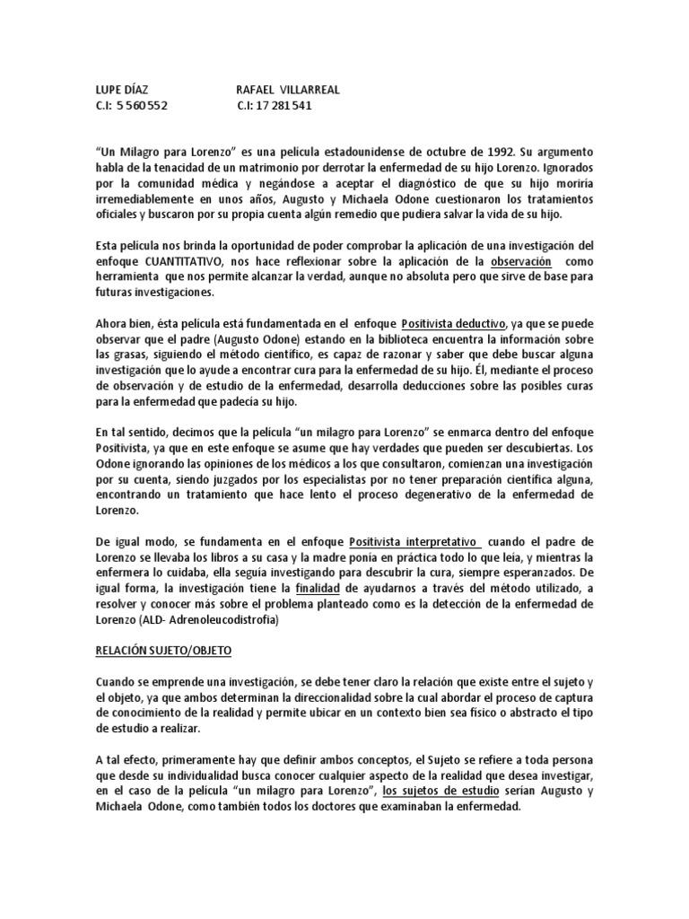 Resumen Un Milagro Para Lorenzo 1 Axiología Conocimiento