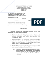Petition for Issuance of Title Revised