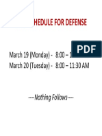 Last Schedule for Defense