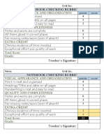 Rubrics for Notebook Checking