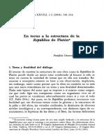 Gutiérrez, Raúl. En torno a la estructura de la República en Platón
