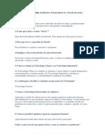 Questionário Sobre Termos Utilizados Na Toxicologia