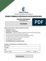 Inglés Avanzado-B2 Expresión Escrita. Prueba