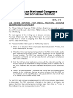 ANC Bokone Bophirima's Post Special PEC Statement