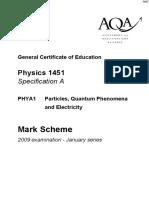 January 2009 MS - Unit 1 AQA Physics a-level