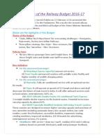 Railway Budget 2016 Highlights Pdf