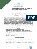 CR2. Participación, Transdisciplina y Co-construcción Para Fortalecer La Resiliencia Al Cambio Climático y La Sequía