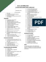 Lista de Utiles 3 Años