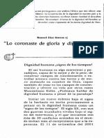 Lo Coronaste de Gloria y Dignidad DDHH y Sagrada Escritura Manuel Diaz Mateos