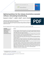 Optimal positions for the release of primitive neonatal reflexes stimulating breastfeeding