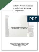 Generalidades de La Gestión Del Talento Humano y Subprocesos
