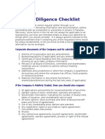 Due Dilligence Check List