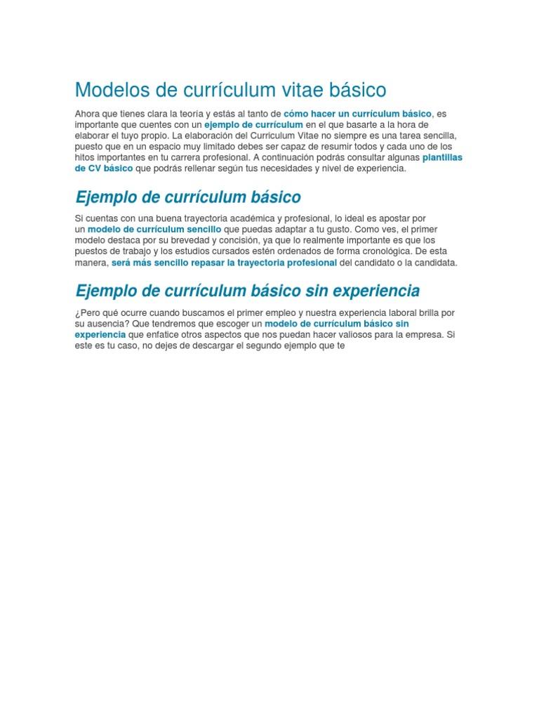 Modelos De Curriculum Vitae Basico
