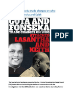 Gota and Fonseka trade charges on who attacked Lasantha and Keith.docx