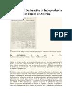 Análisis de la Declaración Independencia Norte Americana.